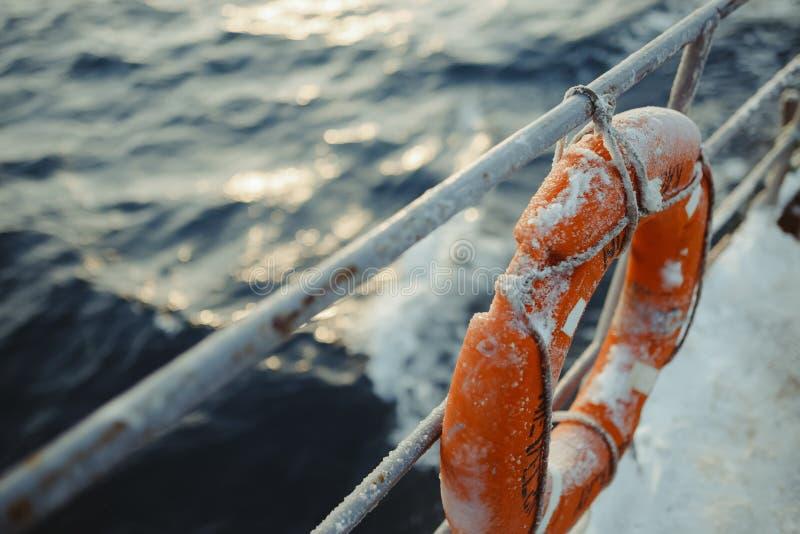 Fishing ship is swimming at sea royalty free stock photos