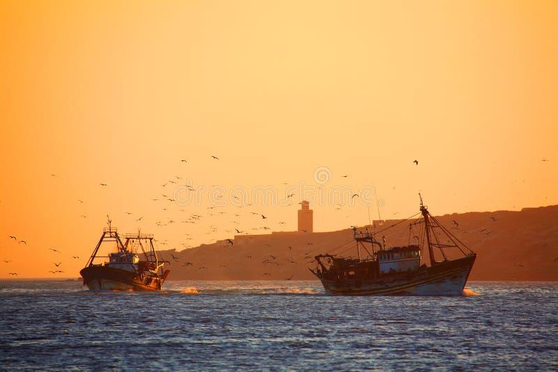 Fishing ships in Essaouira stock image