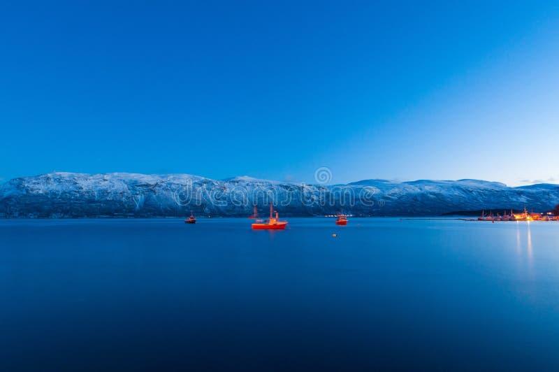 Fishing ships near Sjursnes village, Norway royalty free stock image
