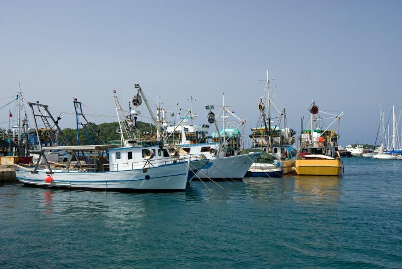 Fishing ships in the port of Vrsar stock photos