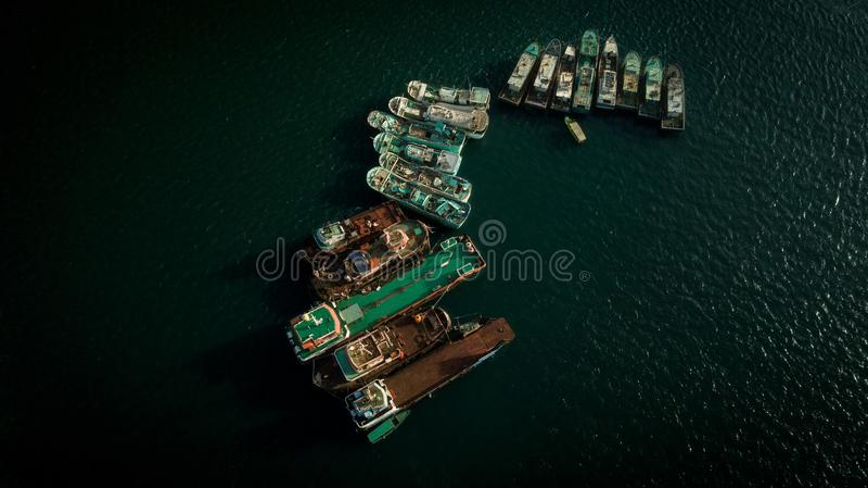 Fishing ships waiting stock image