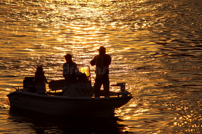 Fishing silhouette royalty free stock images