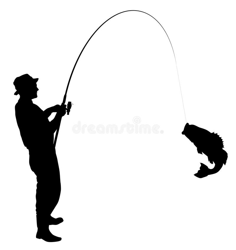 Fishing silhouette stock vector illustration of catch for Fishing times free