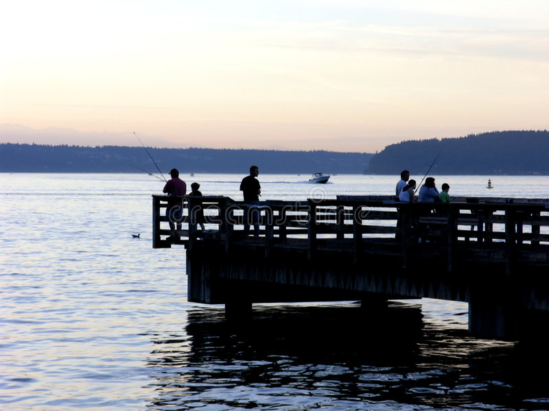 Fishing Silhouettes royalty free stock photography