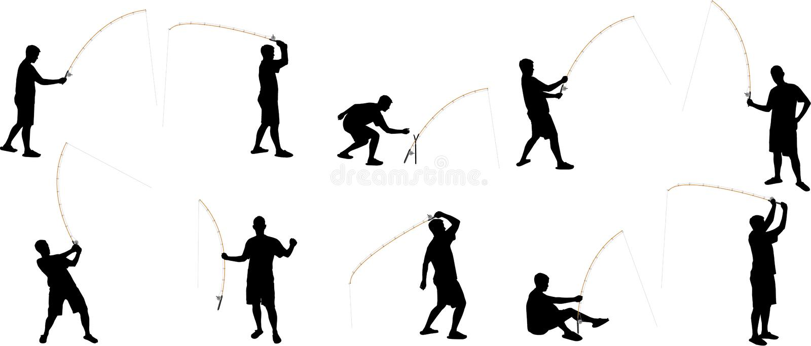 Fishing silhouettes stock image