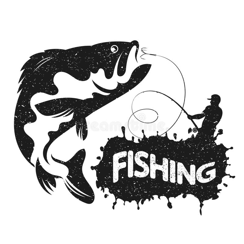 Fishing silhouettes vector. Fisherman with boat fishing vector silhouette royalty free illustration