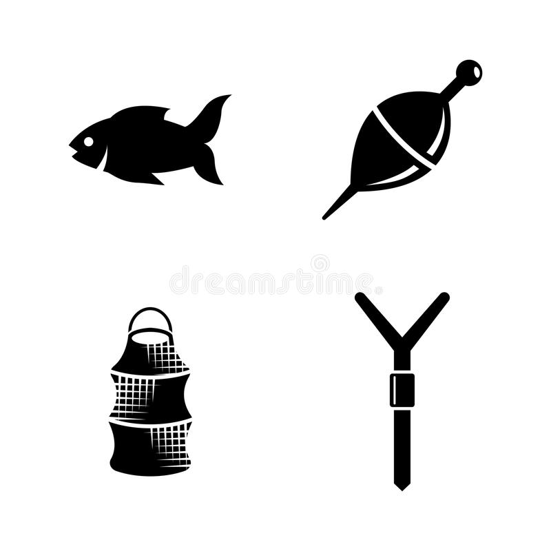 Fishing. Simple Related Vector Icons stock illustration