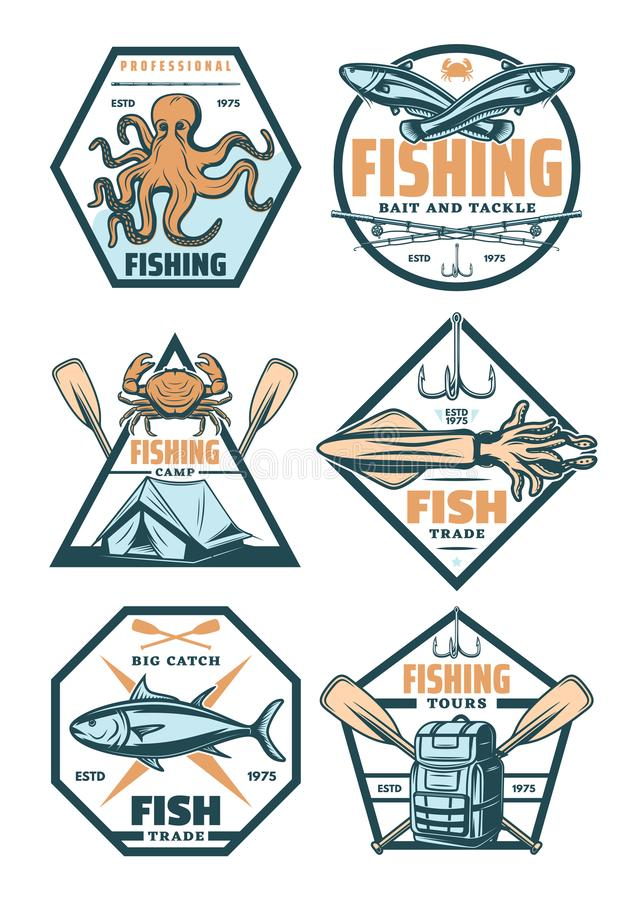 Fishing sport badges and icons with fish and hook vector illustration
