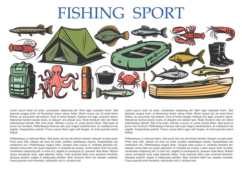 Fishing sport equipment, fisherman catch tackles. Fishing sport and fisherman tackles equipment with fish catch license. Vector fishing rod, rubber boat and royalty free illustration