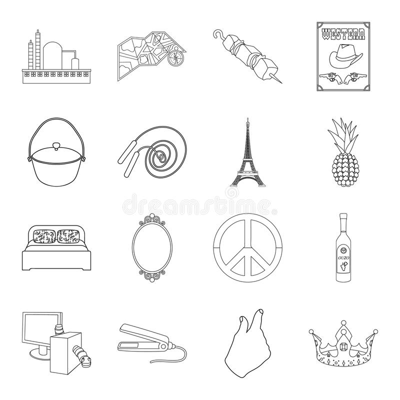 Fishing, sport, technology and other web icon in outline style.food, travel, hairdresser icons in set collection. Fishing, sport, technology and other icon in royalty free illustration