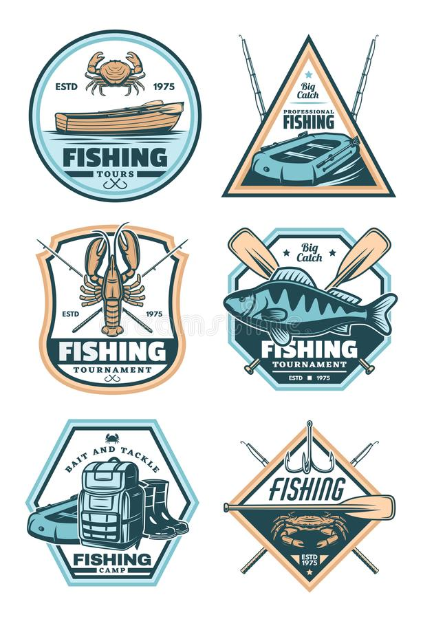 Fishing vintage badge with fish, rod and hook royalty free illustration