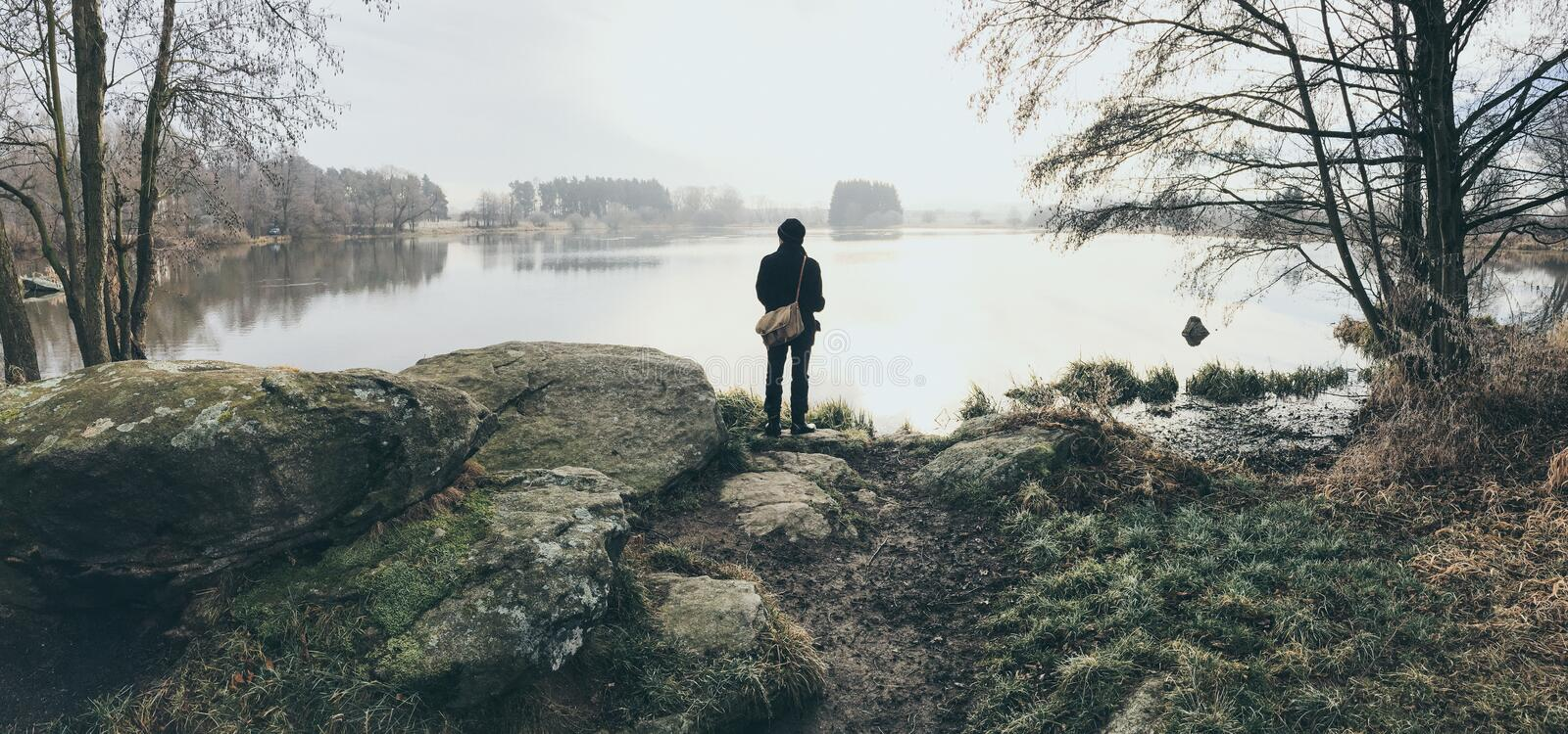Fishing in Sumava National Park II stock images