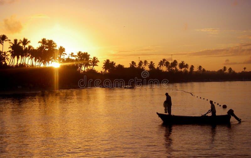 Fishing at Sunrise royalty free stock photography
