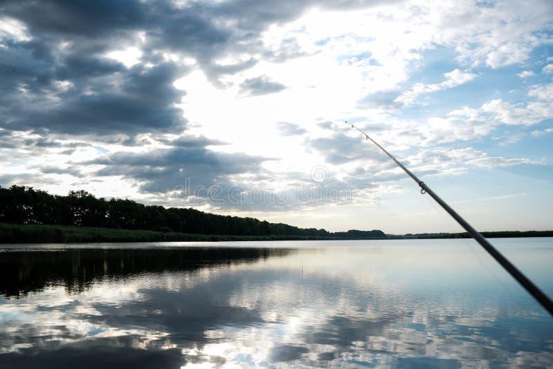 Fishing on sunrise. royalty free stock photos