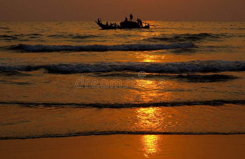 Download Fishing at sunset stock image. Image of shadow, sunset - 4823405