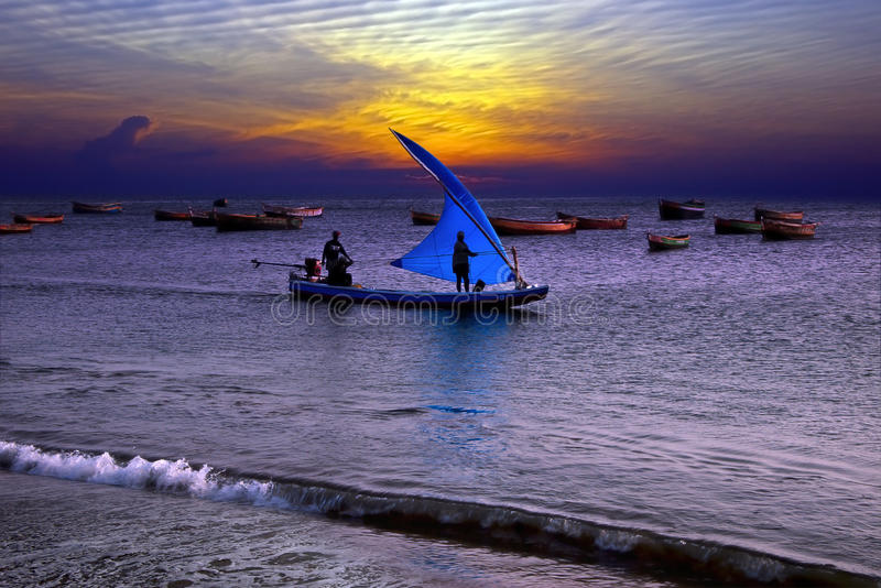 Download Fishing at sunset in India stock photo. Image of national - 13668836