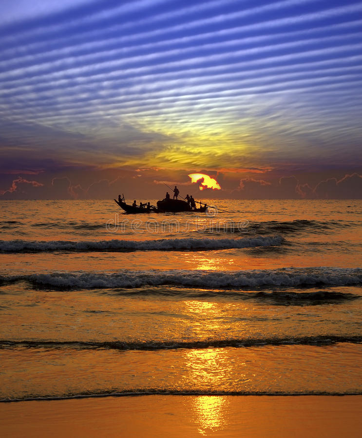 Download Fishing at sunset in India stock photo. Image of silhouette - 13851658