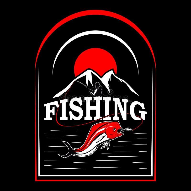 Fish on t-shirt design. Fishing t-shirt design with 2 mahi-mahi fish. fish on. responsible angler stock illustration