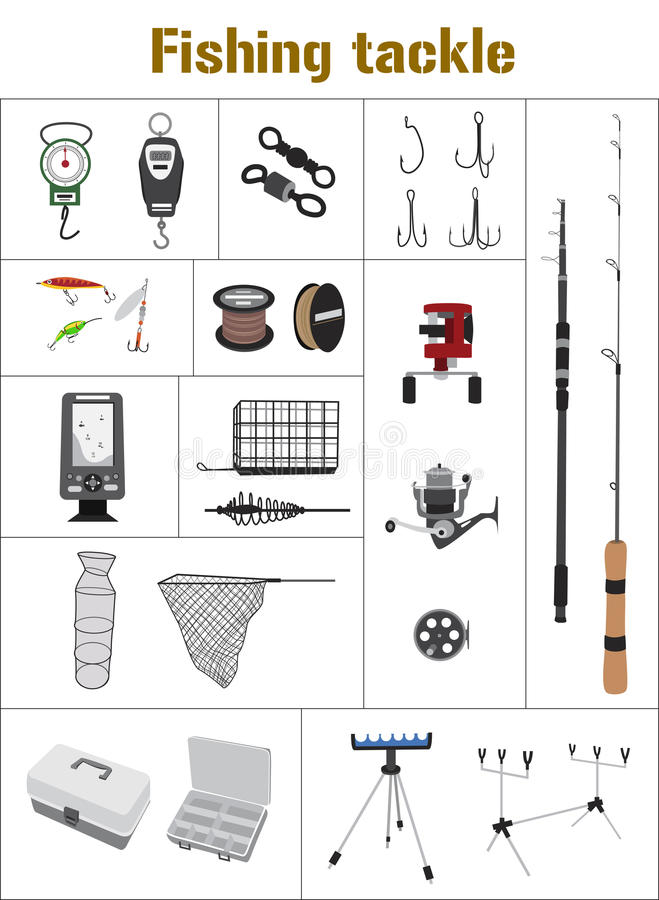 Fishing tackle flat icon collection royalty free illustration