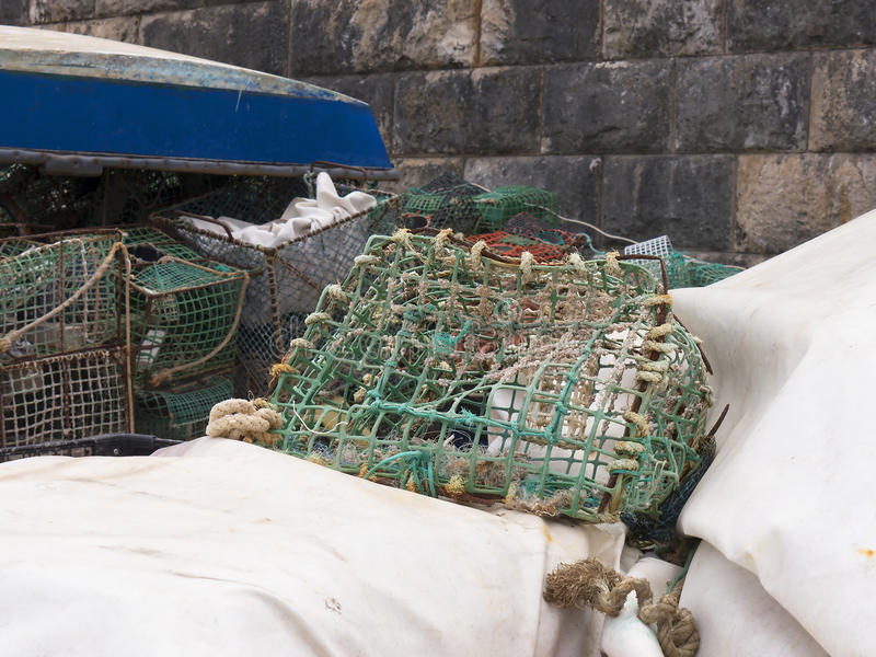 Fishing tackle on the Harbour at Cascais in Estoril near Lisbon Portugal stock photo