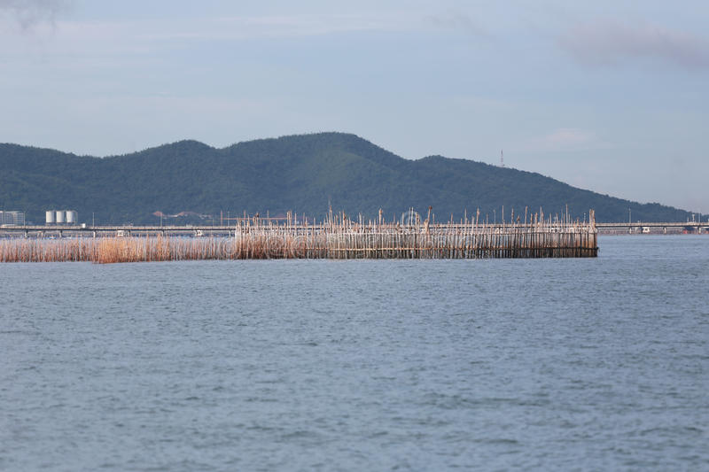 Fishing tools made of bamboo in Thailand sea. royalty free stock images