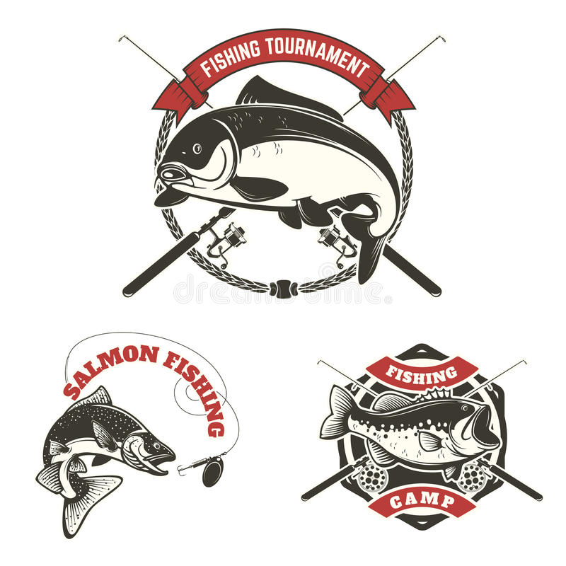 Fishing tournament labels. Carp fishing, salmon fishing, perch stock illustration