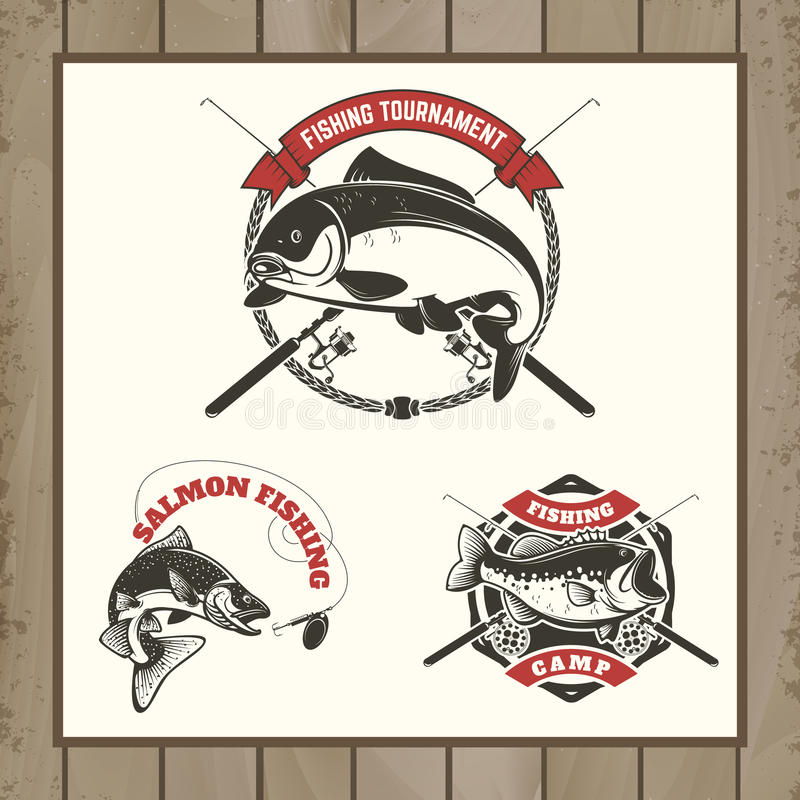Fishing tournament labels. Carp fishing, salmon fishing, perch f stock illustration