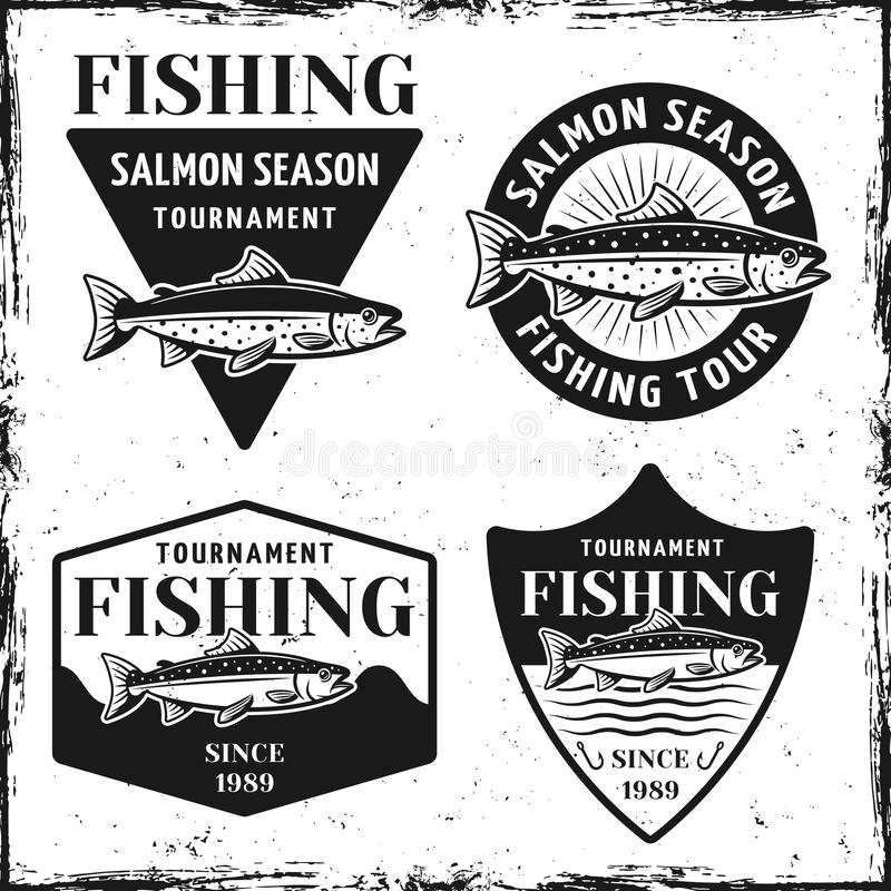 Fishing tournament set of four vector emblems vector illustration
