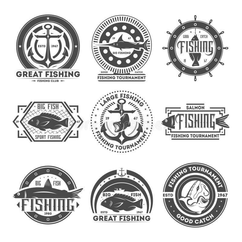 Fishing tournament vintage isolated label set. Great fishing tournament vintage isolated label vector illustration. Good catch symbol. Big fish icon. Sport royalty free illustration