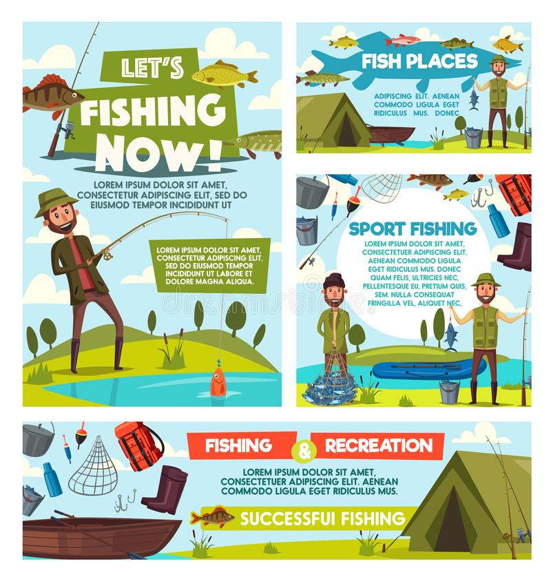 Fishing tours, fisher catch tourism leisure. Fishing sport torus and fisherman fish catch hobby or leisure adventure. Vector fishers with rod tackles, lures and vector illustration
