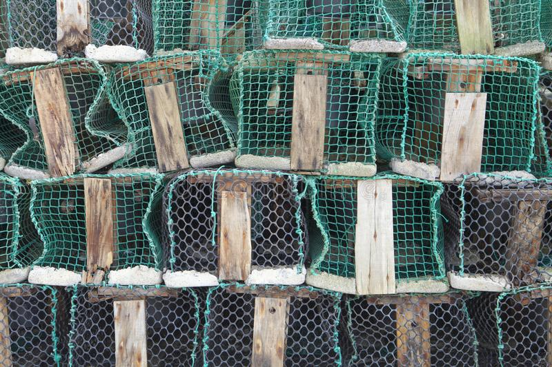 Fishing traps in Ribadesella Port royalty free stock photography