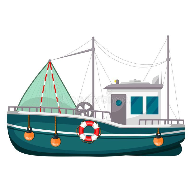 Fishing trawler, commercial boat, fishing vessel icon. Vector flat style cartoon illustration isolated on white background stock illustration