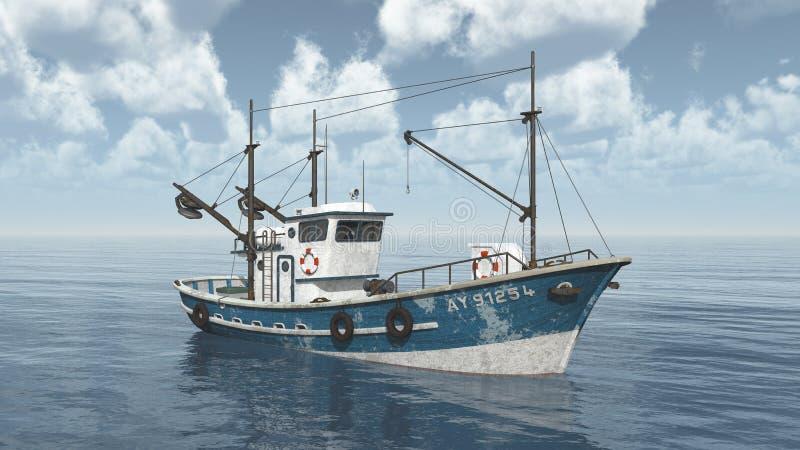 Fishing trawler. Computer generated 3D illustration with a fishing trawler stock illustration