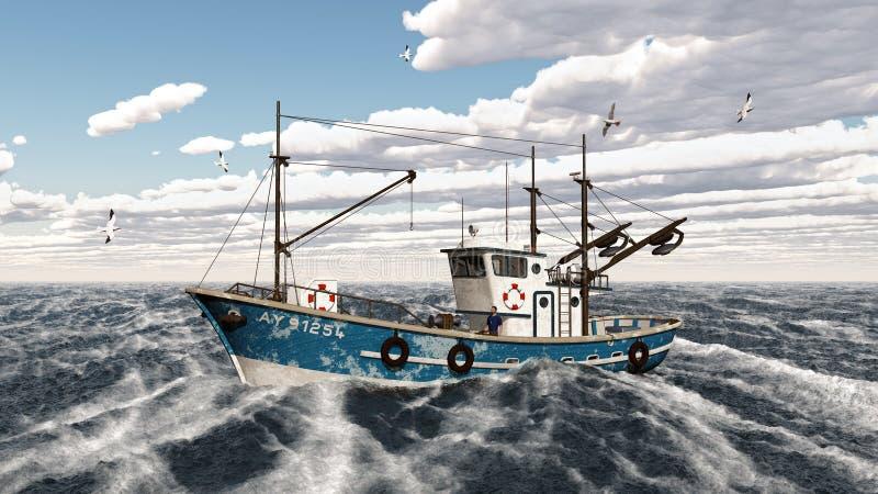 Fishing trawler. Computer generated 3D illustration with a fishing trawler vector illustration