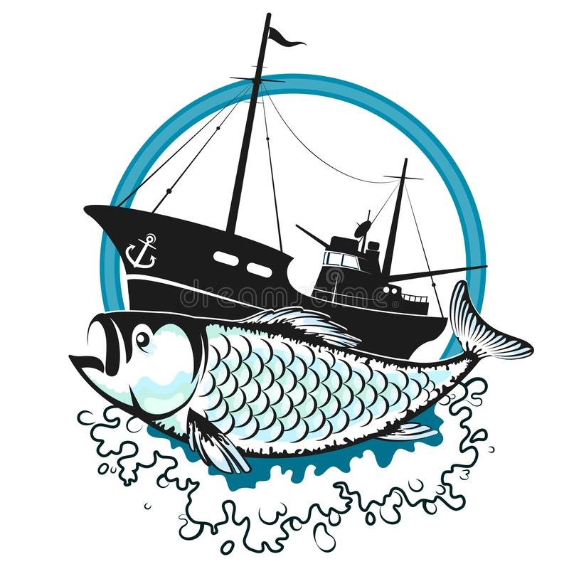 Fishing trawler and fish. Fishing trawler on the waves and fish silhouette royalty free illustration
