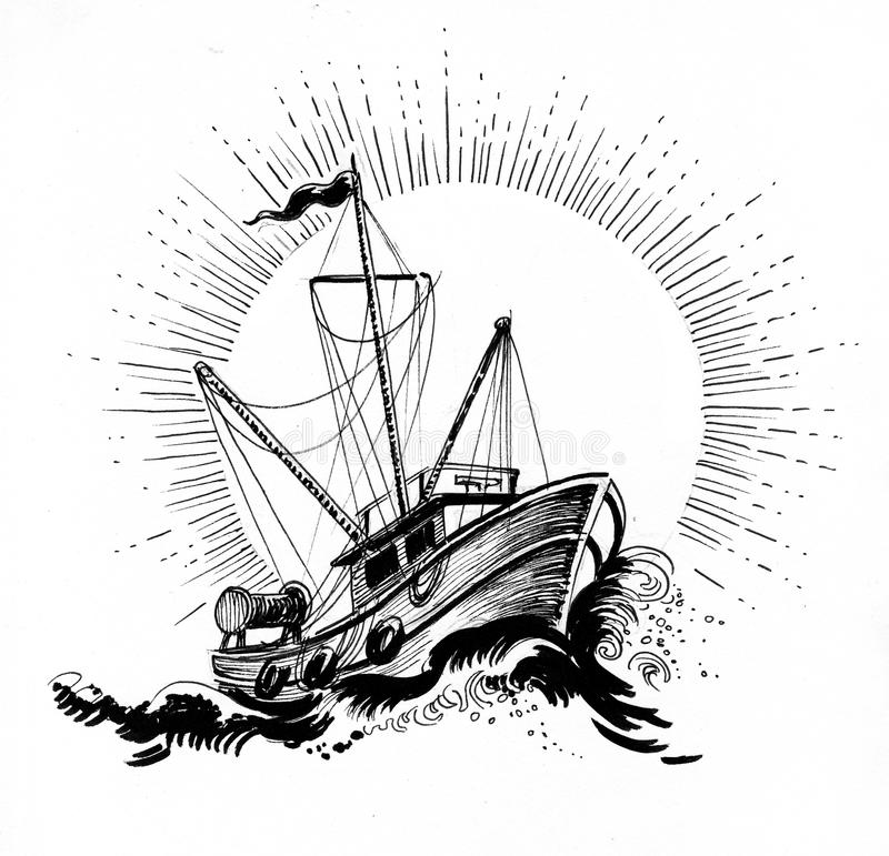 Fishing trawler. Ink black and white illustration of a fishing trawler in a stormy sea stock illustration