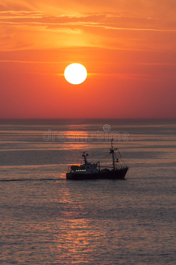 Fishing Trawler - The North Sea - Sunset stock images
