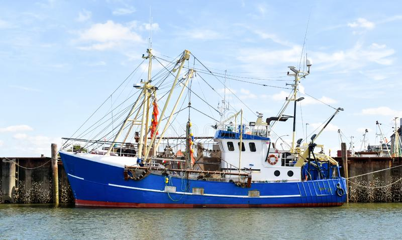 Fishing trawler in the port of Buesum in  North Frisia Germany royalty free stock image