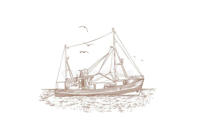 Fishing trawler at the sea. Drawing of fishing trawler at the sea stock illustration