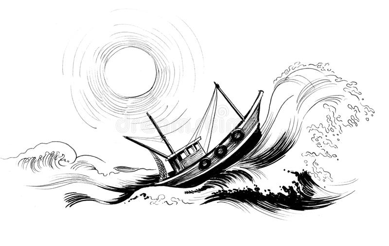 Fishing trawler in the sea royalty free illustration