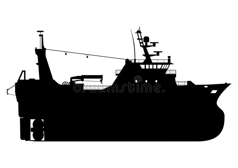 Fishing trawler. Silhouette of a fishing trawler. Side view. Flat vector royalty free illustration