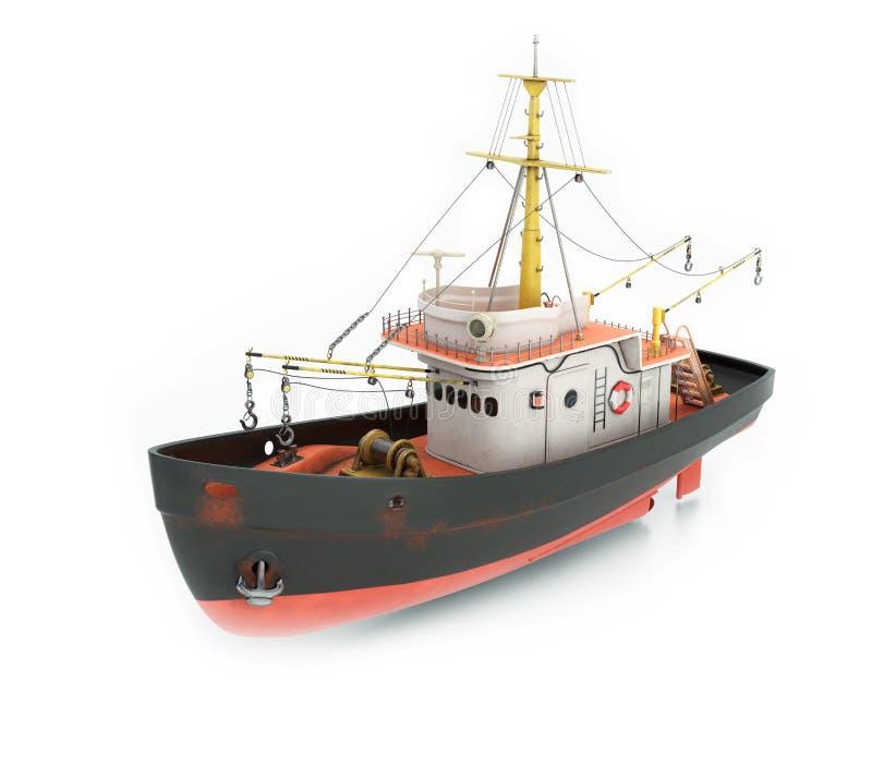 Fishing trawler. On white background. 3d render stock illustration
