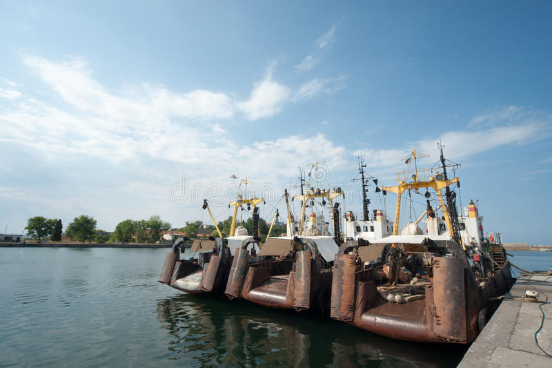 Fishing trawlers in the Bay of Sozopol in Bulgaria royalty free stock photography