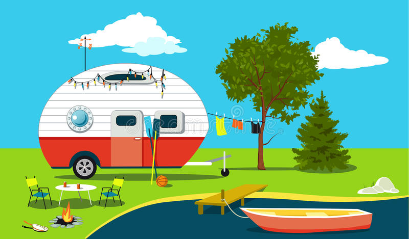 Fishing trip. Cartoon fishing trip scene with a vintage camper, a boat, a fire pit, camping table and laundry line, EPS 8 illustration, no transparencies royalty free illustration