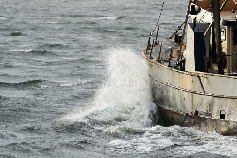 Fishing vessel Hustler choppy water royalty free stock photos
