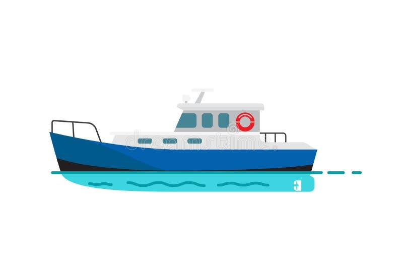 Fishing Vessel Speedboat Marine Nautical Transport. Fishing vessel, speedboat marine nautical type of transport in flat style. Motor boat or sailboat vector stock illustration
