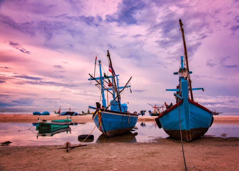 Fishing vessels at dawn royalty free stock photos
