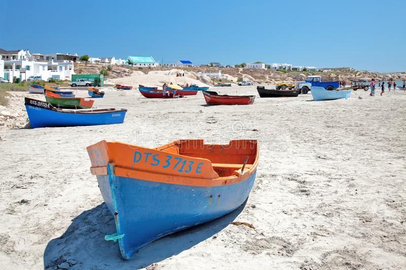 FISHING VESSELS ON A BEACH IN PATERNOSTER stock photo