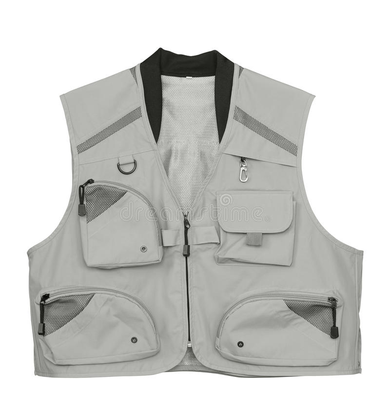 Fishing vest. Fly fishing vest isolated on white royalty free stock image