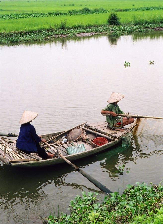 Fishing, Vietnam style royalty free stock image